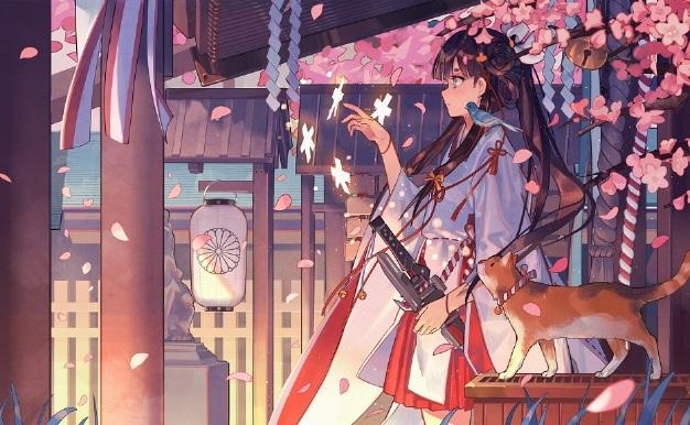樱花散落少女与猫