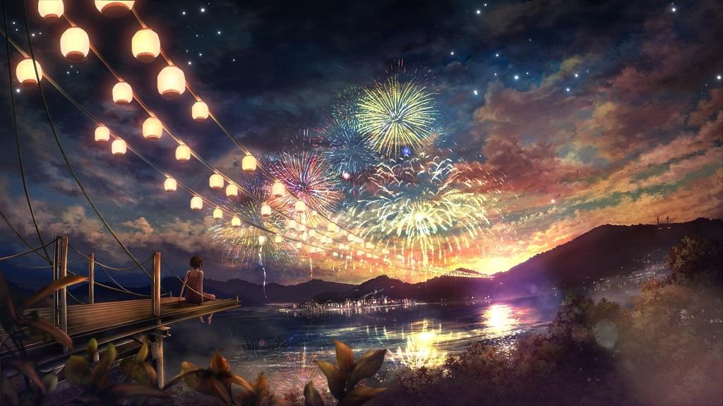 夜空下的花火